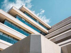 White multi leveled condo building